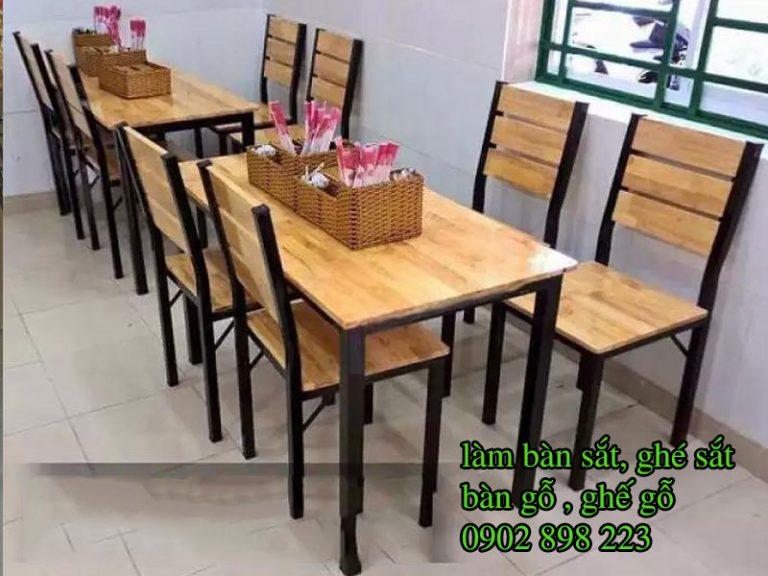 Bàn ghế chân sắt mặt gỗ/Bàn ghế khung sắt đẹp, giá rẻ, báo giá bàn ghế chân sắt mặt gỗ