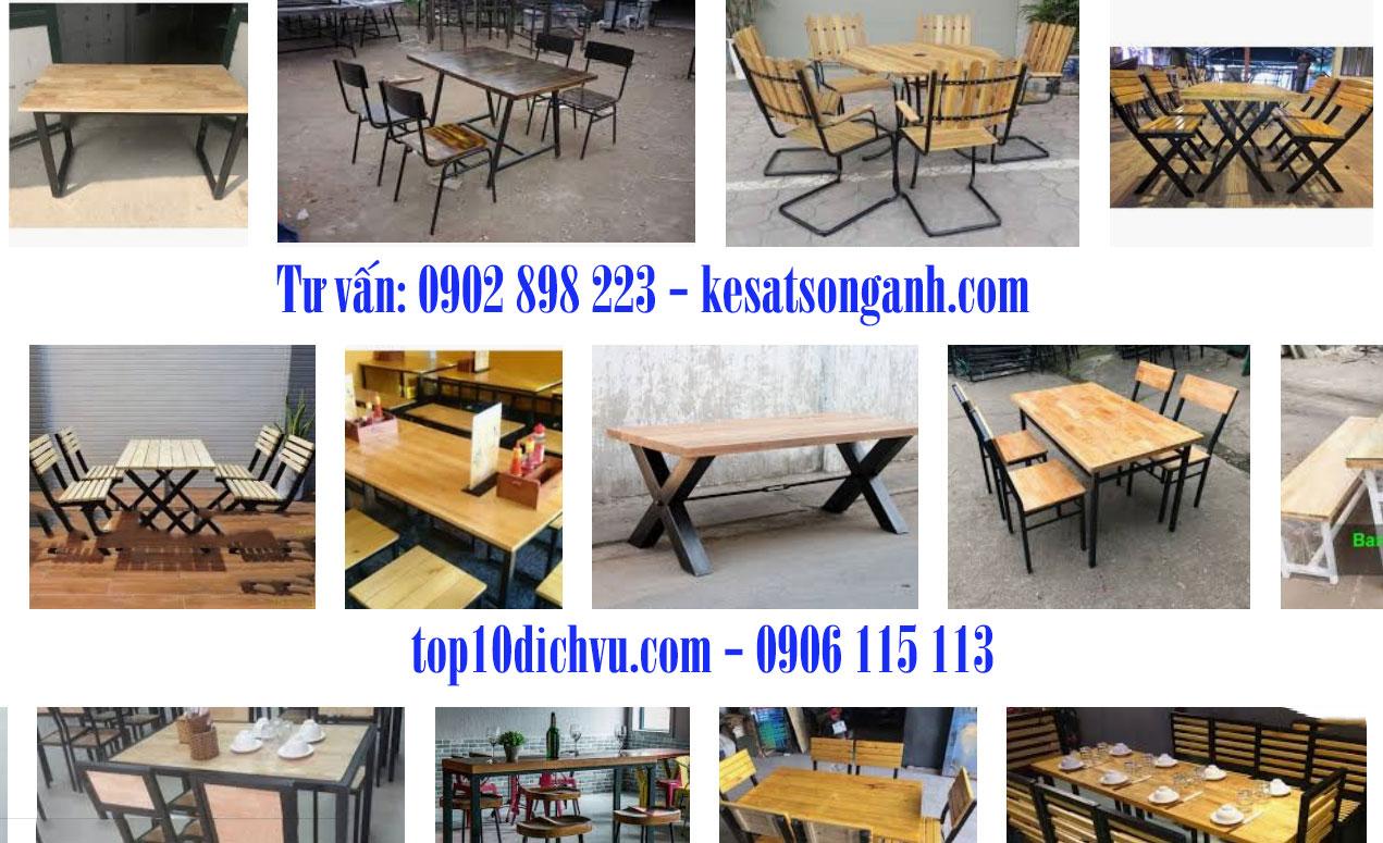 Bàn ghế chân sắt mặt gỗ/Bàn ghế khung sắt đẹp, giá rẻ